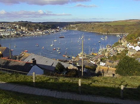 Polruan on the right and Fowey on the left